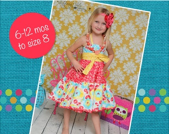 Suzie's twirly halter top and Dress PDF Pattern sizes 6-12 months to 8