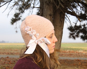 Ribbon-Laced Handknit Beanie: Anthropologie-Inspired