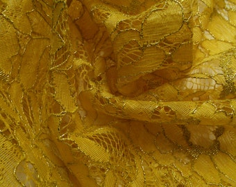 "58"" Width- Golden Sunshine Yellow and Metallic Gold Alencon Lace Fabric"