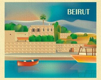 Beirut Skyline art, Beirut poster print,  Lebanon Poster, Byblos Port Harbor Print, Lebanon gift,  Beirut, Lebanonese art style - E8-O-BEIR