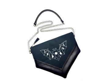Black Bat Crossbody Bag, Leather Crossbody Bag, Canvas Crossbody Bag, Moon Phase Crossbody Bag