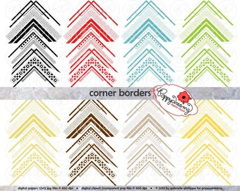 Corner Borders Mega Pack: Clip Art Pack Card Making Digital Frames Page Borders