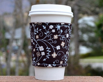 FREE SHIPPING UPGRADE with minimum -  Fabric coffee cozy / cup sleeve / coffee sleeve  -- Mint vines and cream flowers on brown