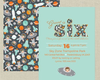 Outer Space Custom Birthday Invitation--Any Age, Astronaut Party, Rocket Invitation, Out of this World, Space Invitation, Teal, Orange, Gray