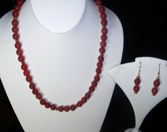 A Beautiful Red Carnelian Necklace and Earrings. (2017260)