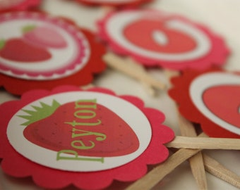 Strawberry cupcake toppers set of 12