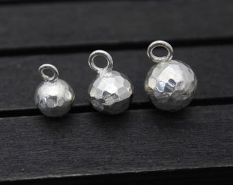 9mm 10.5mm 12mm Hammered Sterling Silver Ball Charms,Sterling Silver Round Ball Charm, Silver Ball Pendant