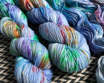 Hand-dyed yarn, Indie dyed yarn, hand dyed yarn CARE BEAR STARE -- dyed to order-- Flushing Meadows bulky superwash merino yarn