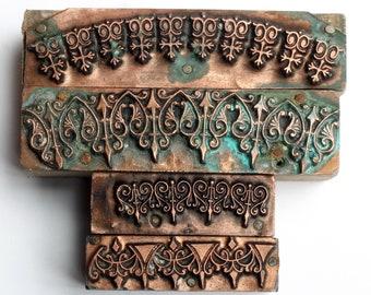 Gorgeous INTRICATE Borders 1903-1953 Antique GERMAN Copper Letterpress Cut printing block