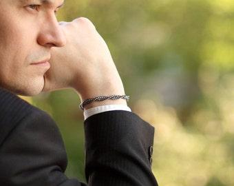 Herren Schmuck männerarmband Chainmaille oxidiertem Sterling Silber Armbänder für Männer - Männer Mode sexy Mann männliche Armband DNA-Armband - Chronos