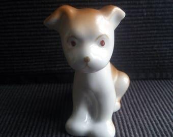 Vintage porcelain dog statuette Soviet dog figurine rustic USSR collectible