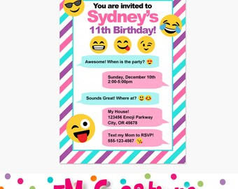 Emoji Birthday Party Invitations - Emoji Birthday Party Printable Invite - Teen Birthday Invitation - Smiley Face Party Invite - Girl Invite