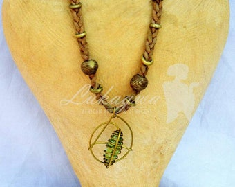 African Brown leather necklace,African Jewelry