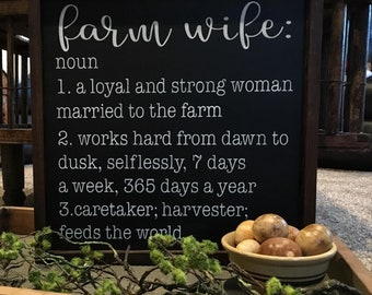 Farm Wife.. Hand painted and Wood framed sign.