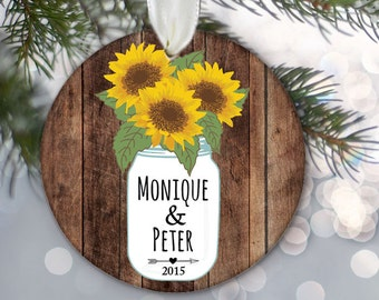 "Sunflower Mason Jar Personalized Christmas Ornament with couple's names Rustic ""Wood"" Ornament Newlywed Gift Wedding Gift Engagement OR519"