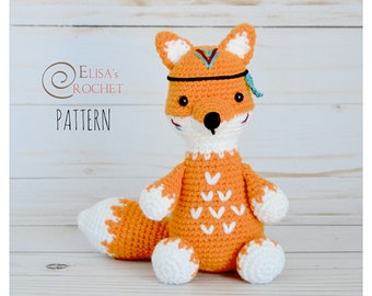CROCHET PATTERN - Tribal Fox Amigurumi doll / Woodland Animal / Stuffed Doll / Easy Instructions / Handmade Plushie - pdf only
