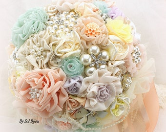Brooch Bouquet, Peach, Lilac, Ivory, Yellow, Mint, Wedding, Bridal Bouquet, Linen, Lace, Crystals, Pearls, Pastel  Colors, Elegant Wedding