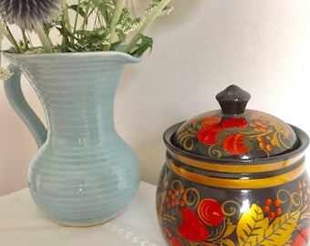 Vintage Russian lacquered lidded pot.