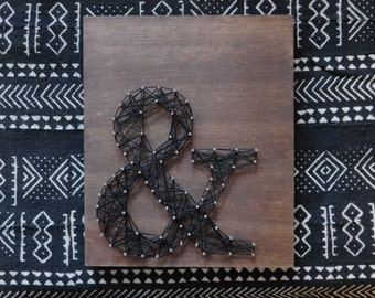 Ampersand string art. And sign art. Rustic string art. Farmhouse string art. Ampersand mixed media art. Ampersand gallery wall art.