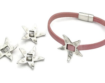 Starfish Connector for 5MM Cords - Antique Silver - Silver Plated - Qty. 3