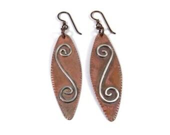 Copper and Silver Earrings Metal Jewelry Dangle Earrings