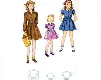 1940s Girls Shirtwaist Dress Pattern or Puff Sleeve Dress Pattern, Notched Collar, Size 4 Breast 23, Simplicity 4434 Vintage Sewing Pattern