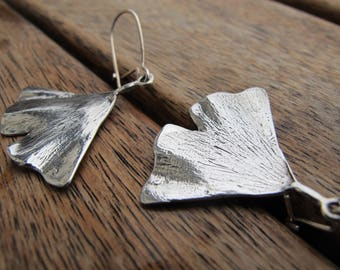Silver Ginkgo Leaf Earrings, Leaf Earrings, Sterling Silver Earrings, Silver Dangle Earrings, Nature Earrings, Ginkgo Earrings