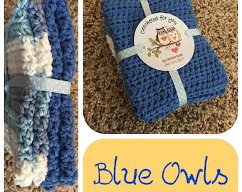Crocheted Dishcloths-Blue Owls
