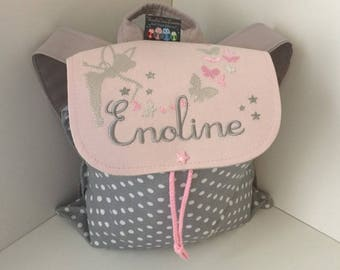 Backpack child, daughter, personalized (name, pattern) size 2/3 years, fairy butterflies baby bag, school, customizable