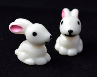 4 PC White Bunny Miniature Garden Plants Terrarium Doll House Ornament Fairy Decoration AZ7987