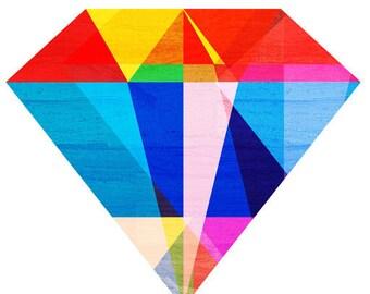 Jewel Tone I, (Geometric Diamond Gemstone Illustration)Art Print