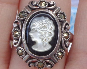 SALE, Sz 8 3/4, Vintage, Hand Carved, Mother of Pearl, Onyx, Cameo Ring, Vintage Cameo, Sterling Silver, Cameo Ring, OOAK