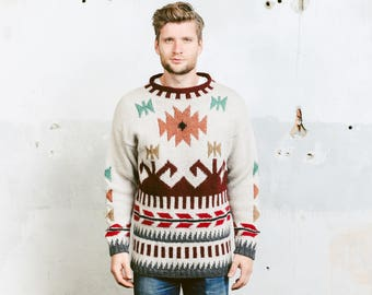 Mens Peruvian Sweater . Vintage 80s Patterned Boyfriend Sweater Beige Brown Wool Pullover Jumper Aztec Print Gift for Hime . size Medium