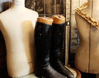 Pair Antique French Leather Riding Boots Antique Boots