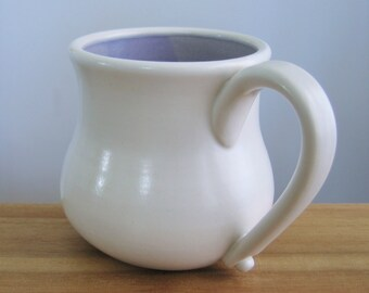 Pot Belly Coffee Mug, 16 oz. Large Stoneware Ceramic Hand Thrown Pottery Mug, Coffee Gift, Coffee Cup in Lavender Purple and White