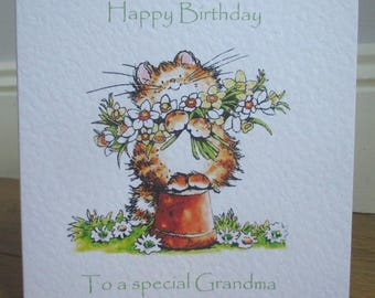 Personalised Cat with Flowers Kitten Birthday Card Any Relation