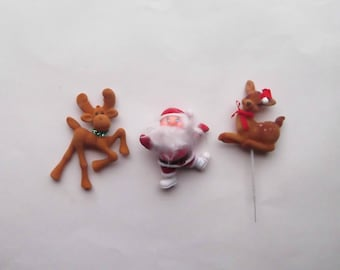 Santa & Reindeer Felt Covered Vintage Lot of 3