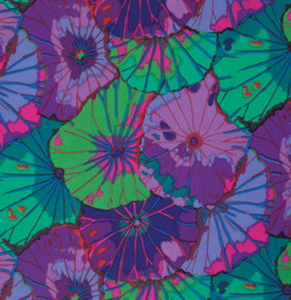 LOTUS LEAF PURPLE GP029 by Kaffe Fassett  Sold in 1/2 yd increments