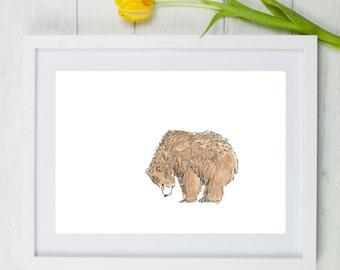 Bear art, bear print, grizzly bear, watercolour bear, bear watercolour, bear painting, Scruffy bear, grizzly bear painting, nursery art