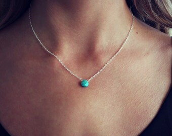 Turquoise Necklace, Delicate gemstone necklace, silver necklace, meaningful jewelry, best friend gift, gift for her, December birthstone