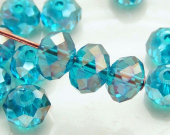 6x4mm Crystal Rondelles Faceted Beads Caribbean Blue AB Abacus (Qty 15) MW-6x4R-CARB