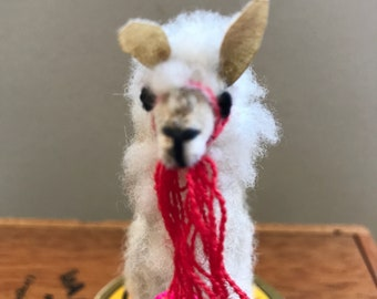 Tiny Unmarked Vintage Plush Alpaca