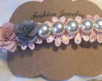 Hand made Pearl and Lace hair clip