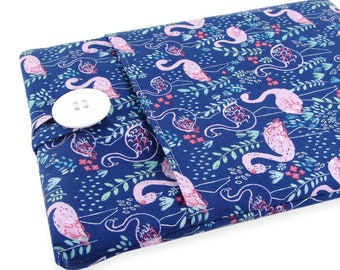 """Women's Laptop Sleeve 15.6"""" - Custom Sized To Your 15 Inch Laptop - Padded With Pocket, Cute Flamingo Fabric"""