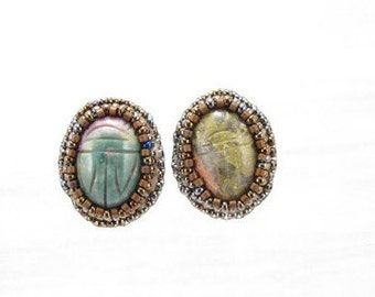 Earrings-bead embroidered-green pink scarab cabochons-egyptian inspired-primative-tribal-mystic-cabochon-ancient-made in colorado