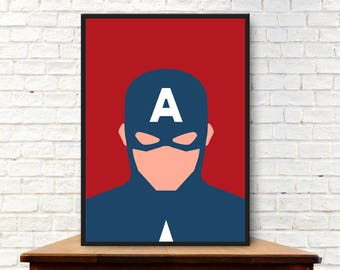 Minimalist Captain America Poster Minimalist Captain America Print Captain America Wall Art Captain America Gift Captain America Art