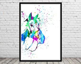 Horse, watercolor horse, horse print, home decor, Horse art, animal art, horse head, horse head print, Horse watercolor (2510b)