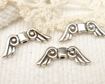 Whimsical Angel Wings, Antique Silver Tone (10) - SF38