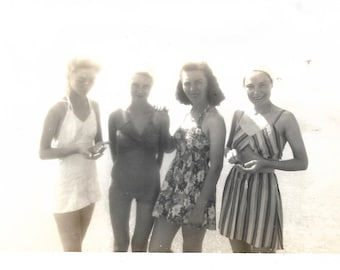 """Vintage Snapshot """"Bathing Beauties"""" Lovely Young Women On The Beach Swimsuits 1940's Found Photo Bathing Suits Old Snapshot"""