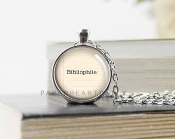 Bibliophile Pendant - Bookworm for Her - Literary Jewelry - Bibliophile - Book Lover Pendant - Jewelry for Readers - Book Jewelry - (B8111)